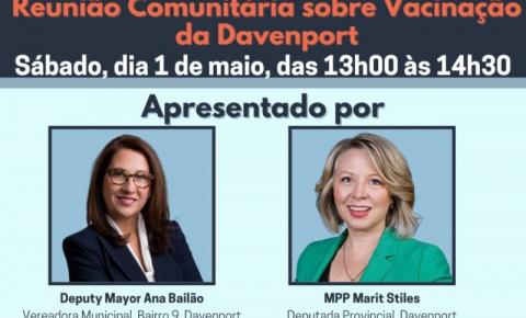 Vereadora Ana Bailão fará reunião virtual para a comunidade portuguesa sobre a vacinação Covid-19