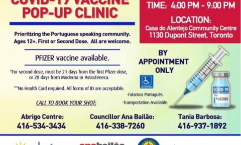 Comunicado: Clínica de Vacinação contra o COVID-19 aberta para as Comunidades de língua Portuguesa