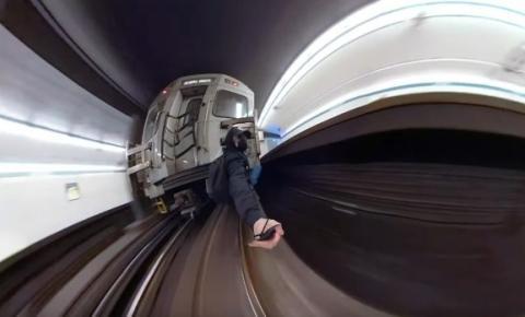 TTC investiga o vídeo de um homem andando do lado de fora da Linha 2 do trem do metrô