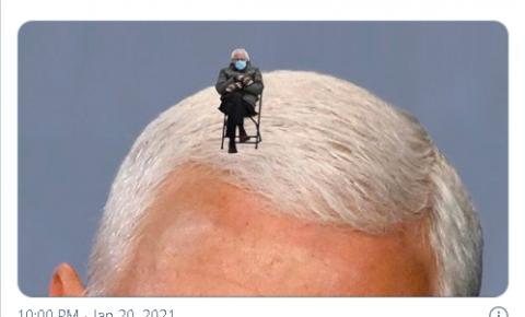 Meme e política: Bernie Sanders sentado com luvas supera mosca de Mike Pence